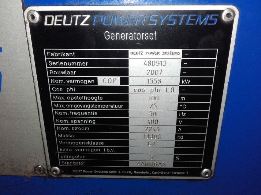 NATURAL GAS GENERATOR MWM TCG2020 V16 (1 560Kwe)